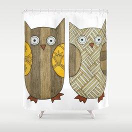 4 Gold Owls Shower Curtain