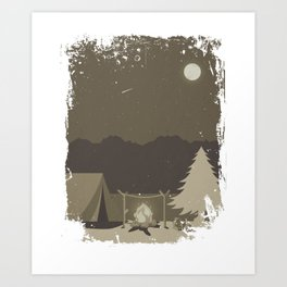 Camping Trip in the Woods Campfire and Tent Full Moon Art Print