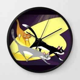 Three Kitties On The Move At Night Wall Clock