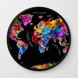 world map color splatter black Wall Clock