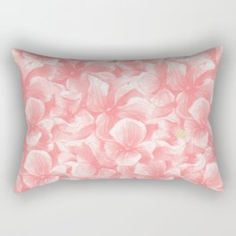Hand painted coral white faux gold watercolor floral Rectangular Pillow