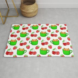 Cute happy playful funny Kawaii baby kittens sitting in little green espresso coffee cups, sweet ripe yummy red summer cherries and strawberries fruity white design. Rug