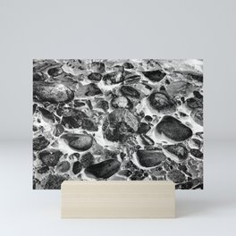 River Rock Cobblestones Black White Mini Art Print