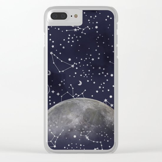 Mystic Galaxy Constellation Moon Stars and Cosmic Space White Clear iPhone Case