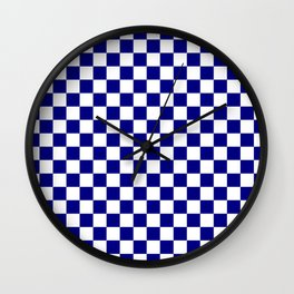 Navy Blue and White Large Check Wall Clock