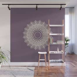 Mandala in Mulberry and White Wall Mural