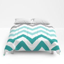 TEAL FADE CHEVRON Comforters