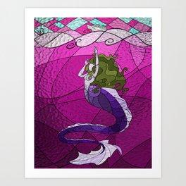 Primeval Mermaid (pink) Art Print