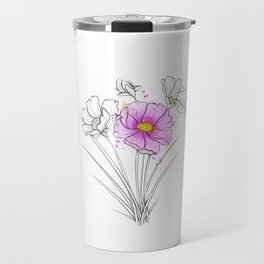 Cosmos Flower Drawing Travel Mug