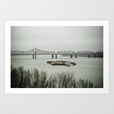 Barge Traffic II Art Print