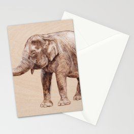Elephant Portrait - Drawing by Burning on Wood - Pyrography Art Stationery Cards
