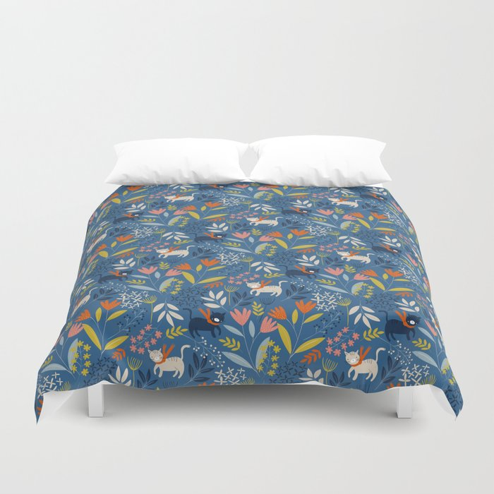 Cats & Flora Duvet Cover