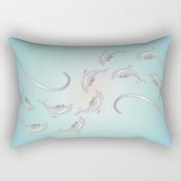 Dolphins Silver Wave Rectangular Pillow