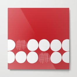 White Dots on Red Background Metal Print