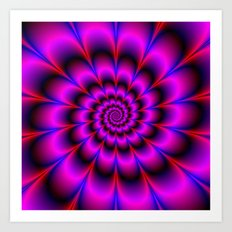 Spiral Rosette in Pink Blue and Red Art Print