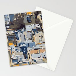 blue yellow grey and brown geometric graffiti painting abstract background Stationery Cards