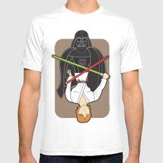 Darth Vader and Luke Mens Fitted Tee White MEDIUM