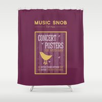 posters Shower Curtains featuring Hipster Concert Posters — Music Snob Tip #421 by Elizabeth Owens