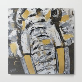 Elephant Face Metal Print