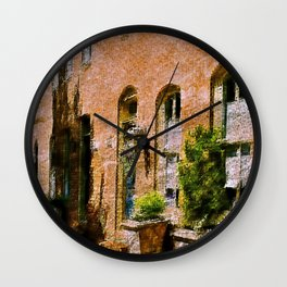 Fells Point Summertime, Baltimore, Maryland, Cityscape, Historic Row Houses  Wall Clock