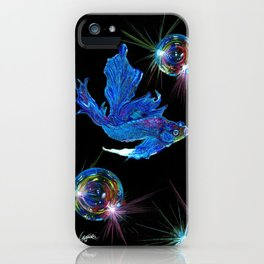 Siamese fighting fish & shiny bubbles iPhone Case