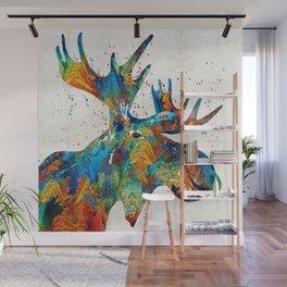 Colorful Moose Art - Confetti - By Sharon Cummings Wall Mural