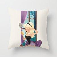 sleeping beauty Throw Pillows featuring Sleeping Beauty! by Pamela Barbieri