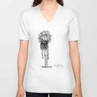 sasquatch V-neck T-shirts featuring SASQUATCH by Maddy Ellwanger