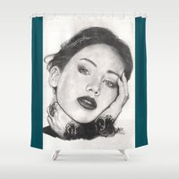 jennifer lawrence Shower Curtains featuring jennifer lawrence by als3