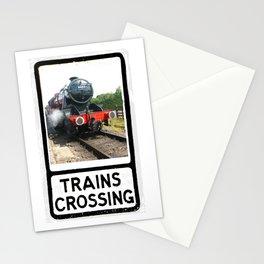 Vintage Steam Railway train warning sign design Stationery Cards