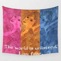 The world is umlimited. I am free... Wall Tapestry