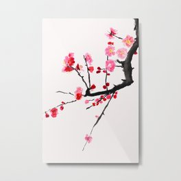 red plum flower red background Metal Print