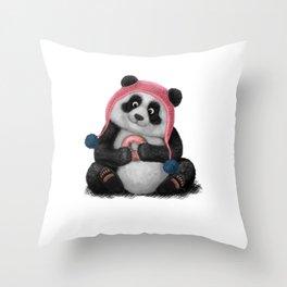 Panda eating a donut Throw Pillow