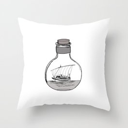 Antique Bottle and Ship Throw Pillow