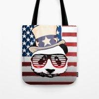 patriotic Tote Bags featuring Patriotic Panda by crayzeestuff