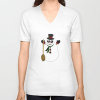 snowman V-neck T-shirts featuring Snowman by Adamzworld