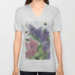Lilacs and Bees Watercolor Painting Unisex V-Neck
