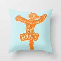 tigger Throw Pillows featuring Life is about ... How Well You Bounce - Winnie the Pooh / Tigger inspired Print by Kitchen Bath Prints