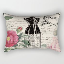 french country rose floral modern vintage dress mannequin paris fashion Rectangular Pillow