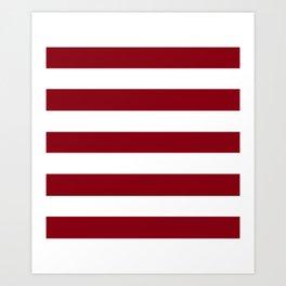 Red devil - solid color - white stripes pattern Art Print