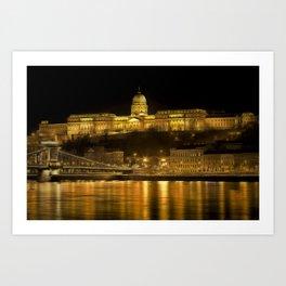Budapest Golden Night Art Print