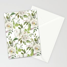 White and Cream Roses with Gentle Green Foliage  Stationery Cards