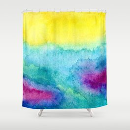 Modern neon yellow blue hand painted watercolor Shower Curtain
