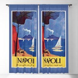 Napels Italy retro vintage travel ad Blackout Curtain