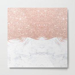 Trendy modern faux glitter rose gold brushstrokes white marble  Metal Print