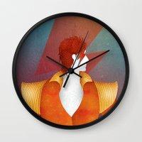 david bowie Wall Clocks featuring Bowie by David van der Veen