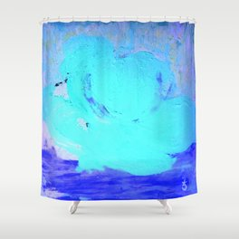 Neon Winter Rose, Abstract In Nature, Ice Blue Shower Curtain