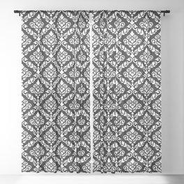 Prima Damask Pattern White on Black Sheer Curtain