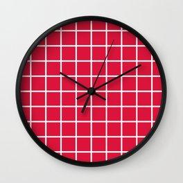 GRID (WHITE & CRIMSON) Wall Clock