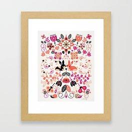 Bunny Lovers – Peach & Black Palette Framed Art Print